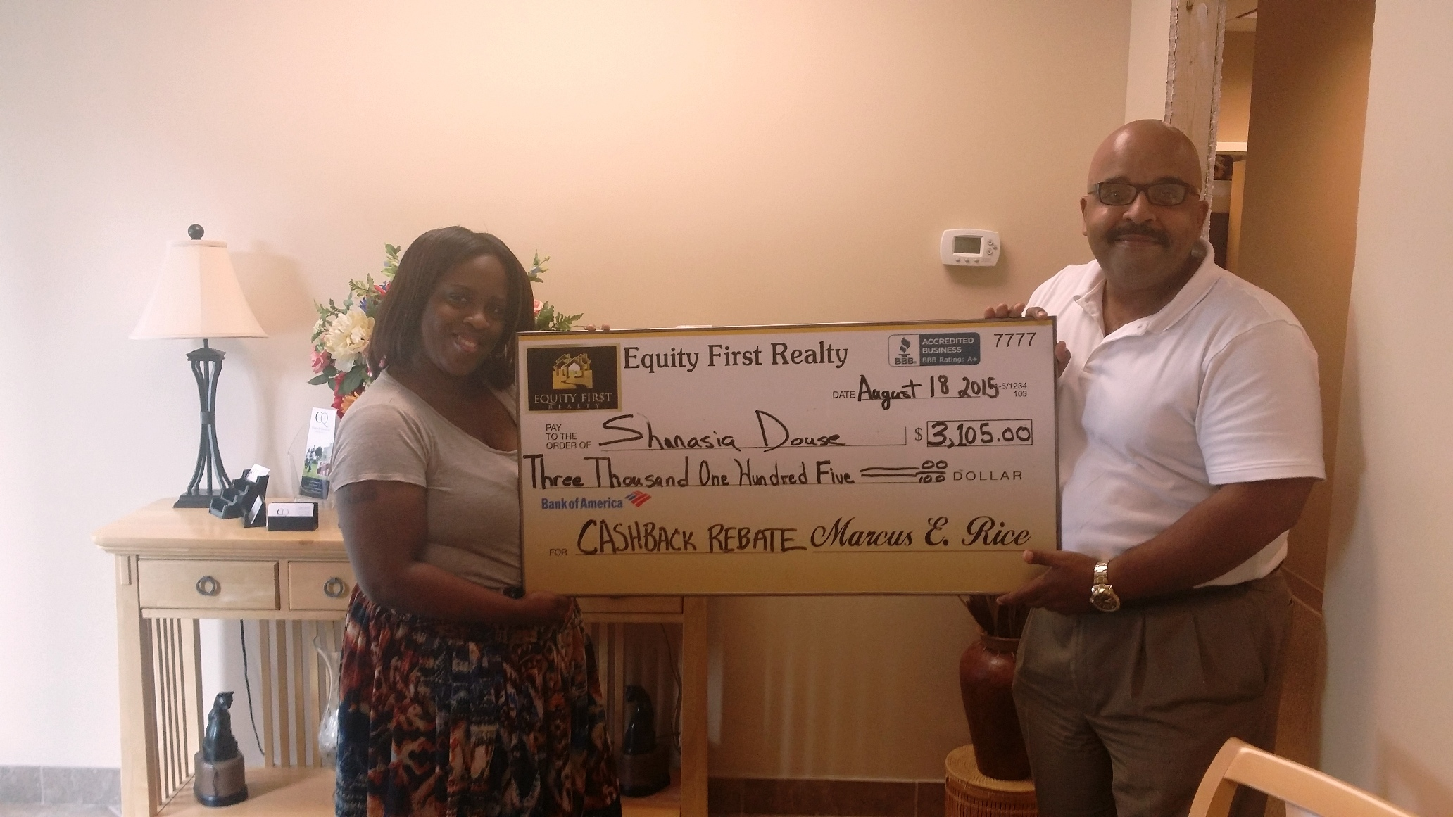 Home Buyer Receives $9,812.50 Rebate Check